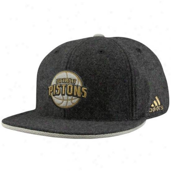 Detroit Piston Hats : Adidas Detroit PistonC harcoal Fashion Flat Bill Fitted Hats
