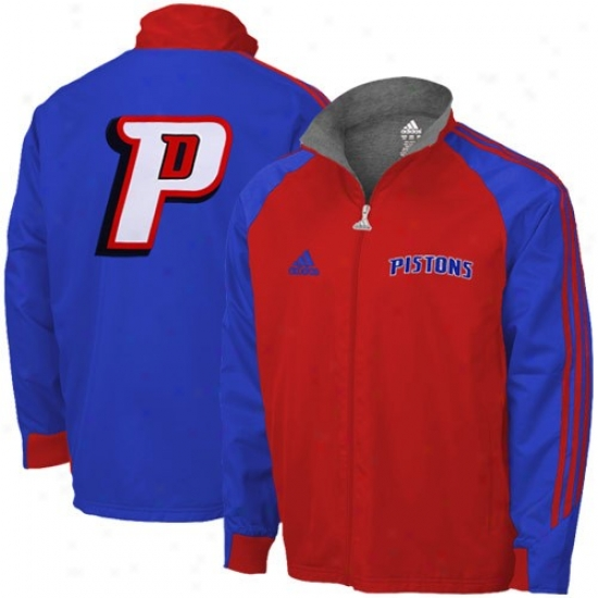 Detroit Piston Jackets : Adida sDetroit Piston Royal Blue-red Midweight Full Zip Jackets