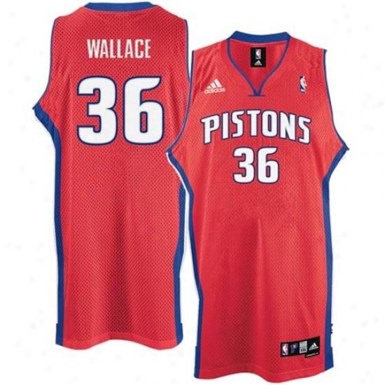 Detroit Piston Jersey : Adida sDetroit Piston #36 Rasheed Wallace Red 2nd Road Swingman Basketball Jersey