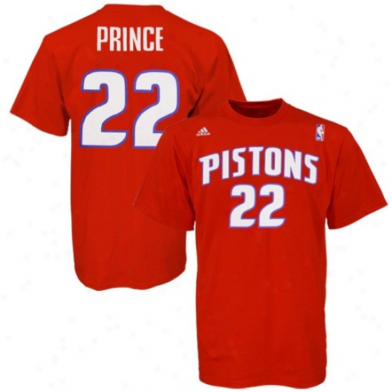 Detroit Piston Shirt : Adidas Detroit Piston #22 Tayshaun Prince Red Player Shirt