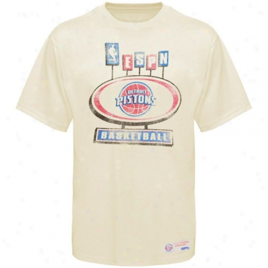 Detroit Piston T-shirt : Sportiqe-espn Detroit Piston Cream Pancakes Distressed Premium T--shirt