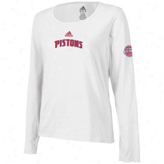 Detroit Pistons Apparel: Adidas Detroit Pistons Ladies White Lqyered Logo Long Sleeve Tissue T-shirt