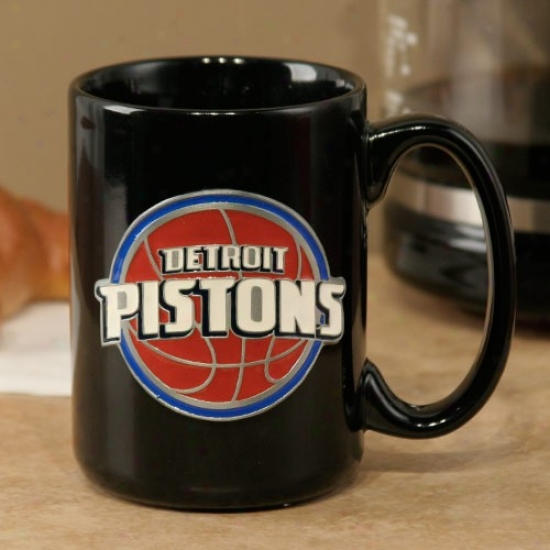 Detroit Pistons Black 15oz. Pewter Logo Ceramic Mug