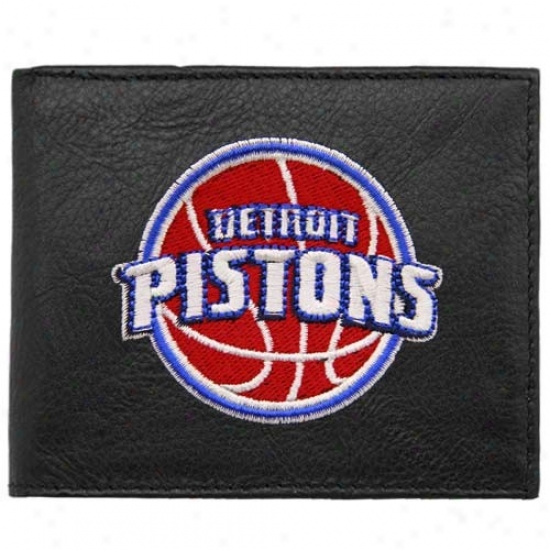 Detroit Pistons Black Embroidered Billfold Wallet