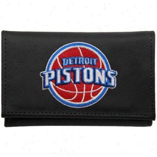 Detroit Pistons Black Embroidered Tri-fold Wallet