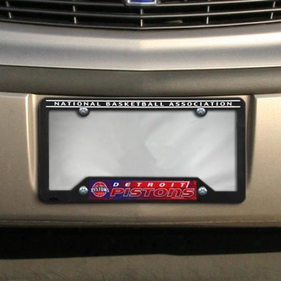 Detroit Pistons Blck Plastic License Plate Frame
