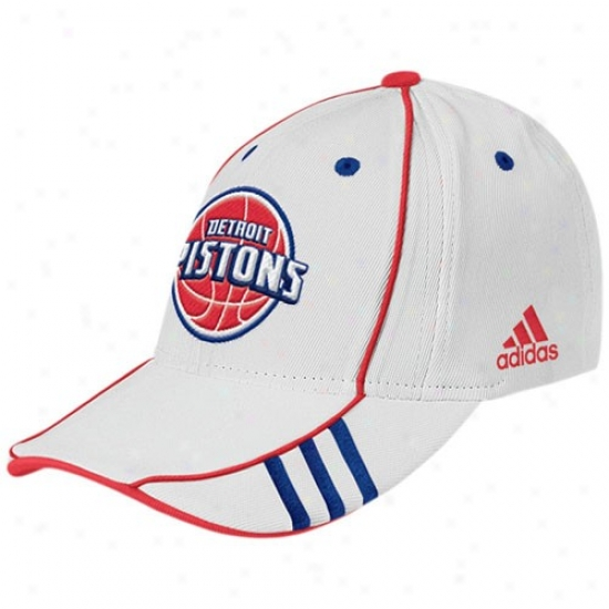 Dtroit Pistons Caps : Adidas Detroit Pistons White Nba 07 Draft Day Caps