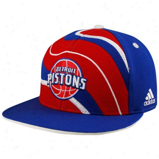 Detroit Pistons Gear: Adidas Detroit Pixtons Royal Blue Sporal Flat Bill Fitte Hat