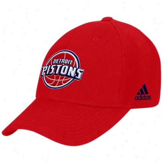 Detroit Pistons Hat : Adidas Detroit Pistons Red Basic Logo Wool Hat