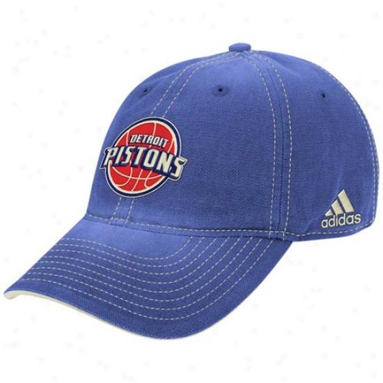 Detroit Piston Hat : Adidas Detroit Pistons Royal Blue Slouch Adjustable Hat