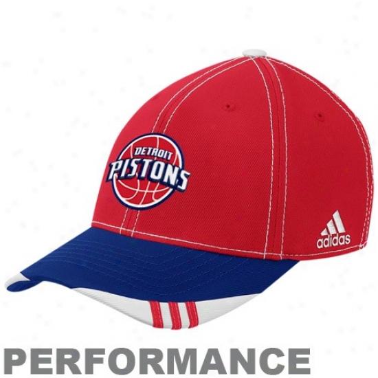 Detroit Pistons Hats : Adidas Detroit Pistons Red-navy Blue Official On Court Flex Fit Hatss