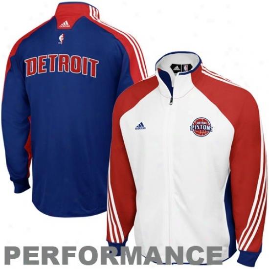 Detroit Pistons Jacket : Adidas Detroit Pistons White-royal Blue On Court Performance Warm-up Jacket