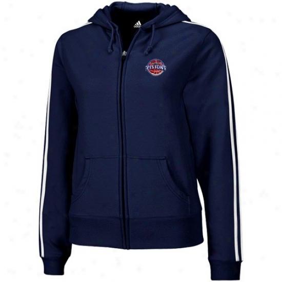 Detroit Pistons Jackets : Adidas Detroit Pistons Ladies Navy Blue Stretch Fleece Full Zip Hoody Jackets