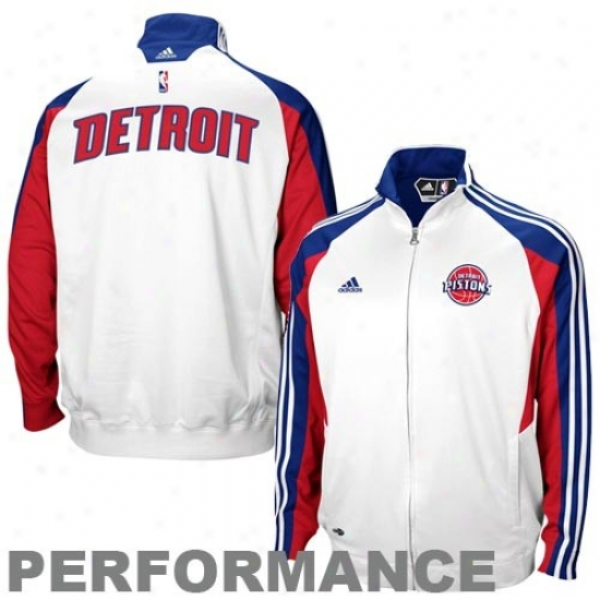 Detroit Pistpns Jackets : Adidas Defroit Pistons White On Court Performance Warm-up Jackets