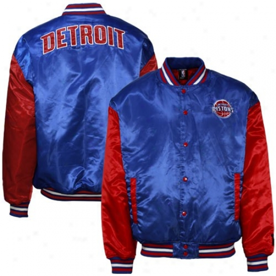Detroit Pistons Jackets : Detroit Pistons Royal Blue Retro Satin Jackets