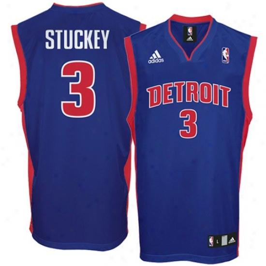 Detroit Pistons Jersey : Adidas Detroit Pistons #3 Rodney Stuckey Royal Blue Replica Basketball Jersey