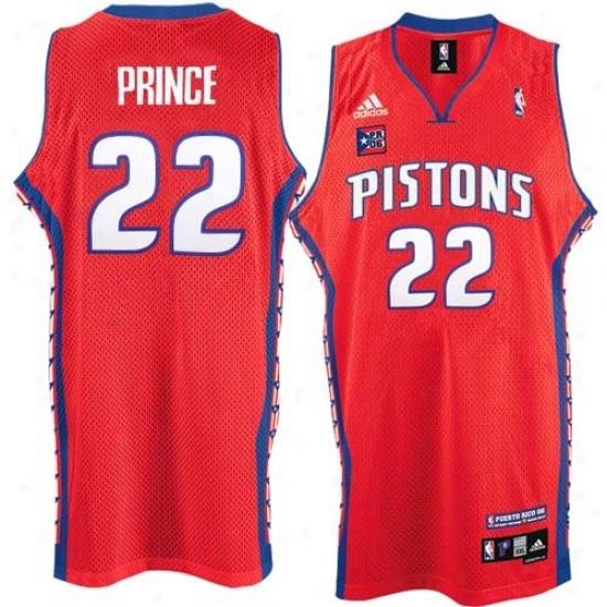 Detroit Pistons Jersey : Adidas Detroit Pistons #22 Tayshaun Prince Red Puerto Rico Swingman Basketball Jersey