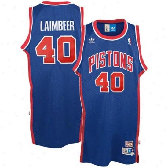 Detroit Pistons Jerseys : Adidas Detroit Pistons #40 Beak Laimbeer Royal Blue Hardwood Classic Swingman Basketball Jerseys
