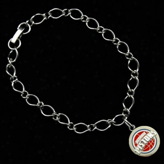 Detroit Pistons Ladies Silver-tone Charm Bracelet