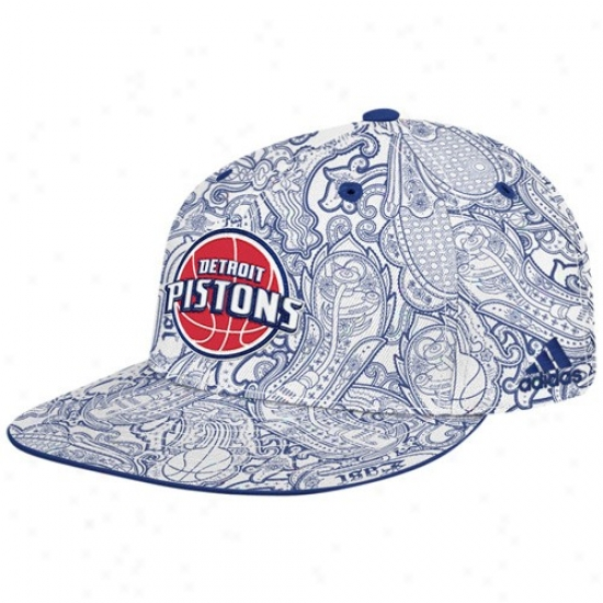 Detroit Pistons Merchandise: Adidas Detroit Pistons White-royal Blue Paisley Flat Brim Fitted Hat