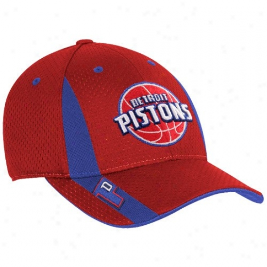 Detroit Pistons Merchandise: Adidsa Detroit Pistons Red Swingman Flex Fit Hat