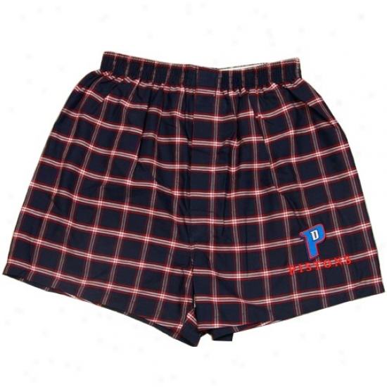 Detroit Pistons Navy Blue Nba Covering Plaid Pajama Shorts