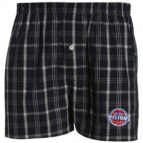 Detroit Pistons Navy Blue Plaid Genuine Boxer Shorts