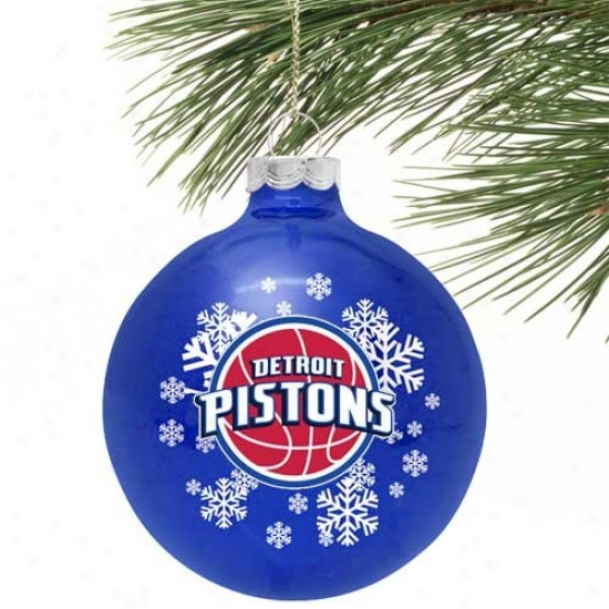 Detroit Pistons Royal Blue Snowflake Glass Ornament