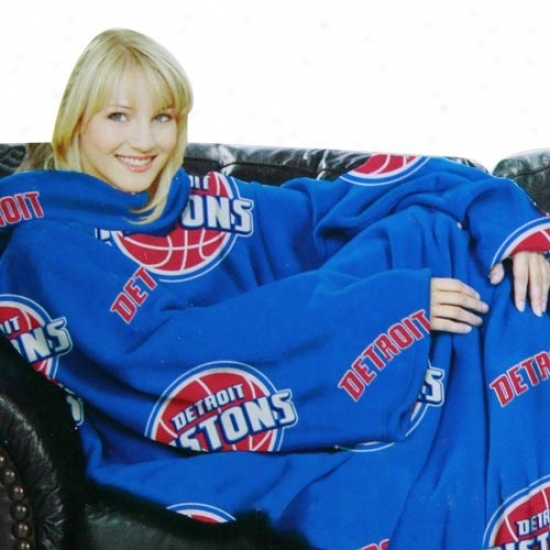 Detroit Pistons Royal Dismal Team Logo Print Unisex Comfy Throw