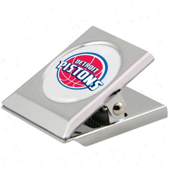 Detroit Pistons Silverr Heavy-duty Magntic Chip Clip