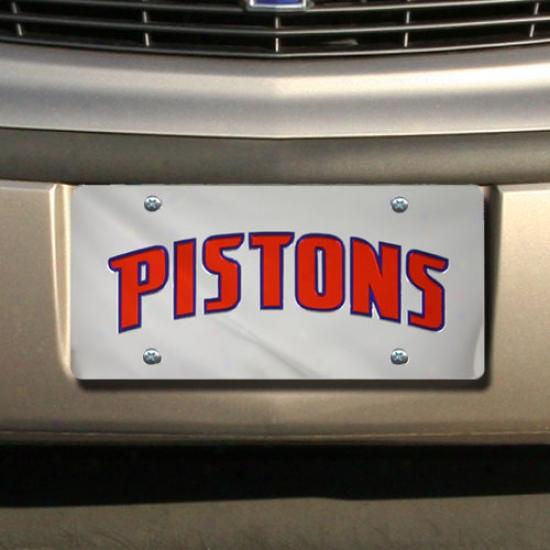 Detroit Pistns Silver Mirror License Plate