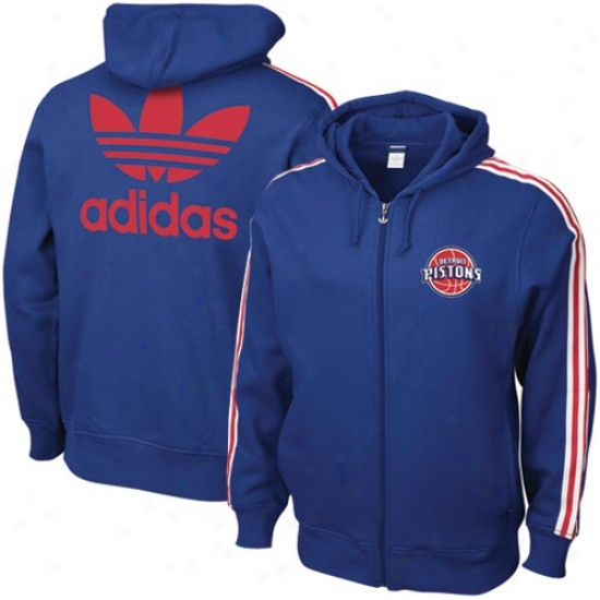 Detroit Pistons Sweatshirt : Adidas Detroit Pistons Royal Blue Court Series Satiated Zip Sweatshirt