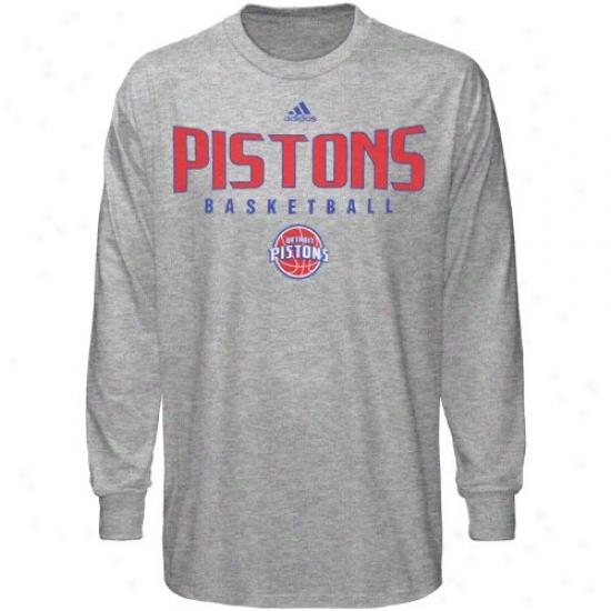 Detroit Pistons T-shirt : Adidas Detroit Pistons Ash Absolute Long Sleeve T-shirt