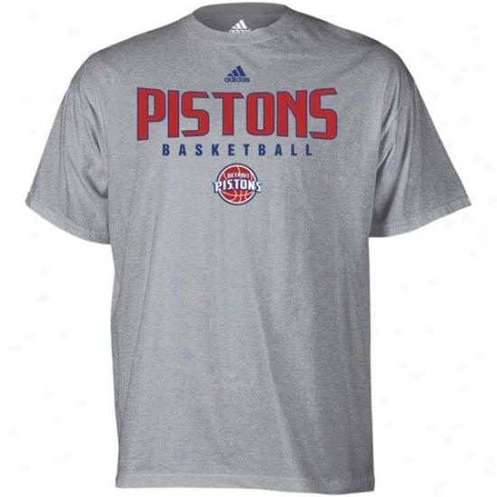 Detroit Pistobs Tee : Adidas Detroit Pistons Ash Absolute Tee