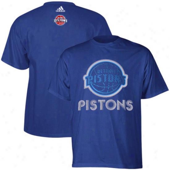 Detroti Pistons Tshirts : Adidas Detroit Pistons Royal Blue Sonic Boom Tshirts