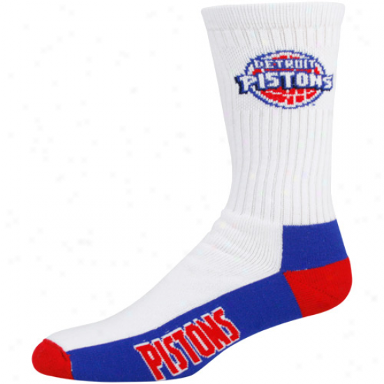 Detroit Pistons Whiet Tri-color Team Logo Tall Socks