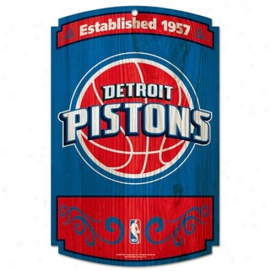 Detroit Pistons Wood Sign
