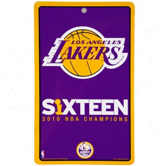 Espn Los Angeles Lakers 2010 Nba Champions 16x Champs Plastic Sign