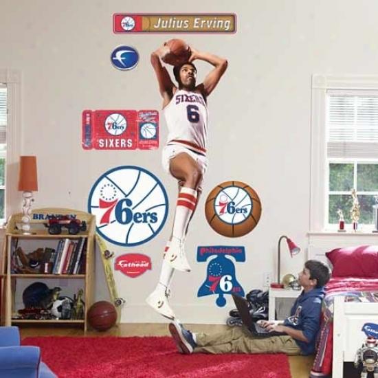 Fathead Philadelphia 76ers #6 Juliys Erving Mimic Wall Cling