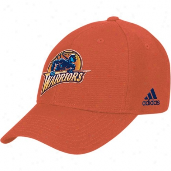 Golden State Warrior Caps : Adidas Golden State Warrior Orange Basic Logo Adjustable Caps