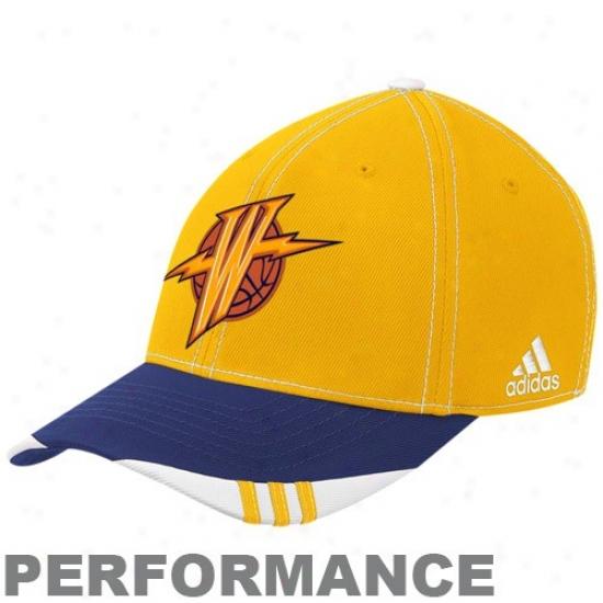Golden State Warrior Hat : Adidas Golden State Warrior G0ld-navy Blue Official On Court Performance Flex Fit Hat
