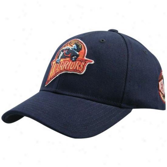 Golden State Warrior Merchandise: Adidas Golden Stafe Warrior Navy Blue Conference Adjustable Hat