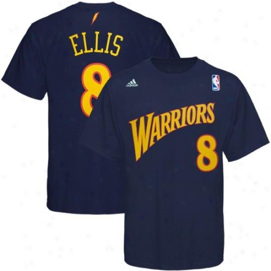 Golden Express  Warrior Shirt : Adidas Golden State Warrior #8 Monta Ellis Navy Blue Net Player Shirt