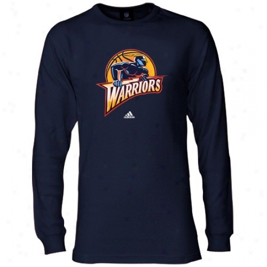 Golden State Warrior Shirts : Adidas Golden State Warrior Navy Blue Primary Logo Long Sleeve Thermal Shirts