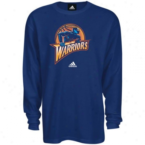 Golden State Warriors Apparel: Adidas Golden State Warriors Navy Blue Primary Logo Long Sleeve T-shirt