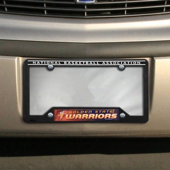 Golden State Warriors Negro Plastic License Plate Frame