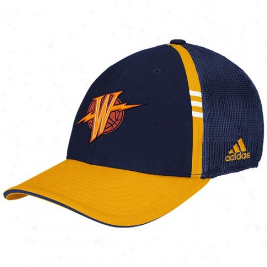 Golden State Warriors Merchandise: Adidas Golden Express  Warriors Navy Blue On Court Flex Fit Hat