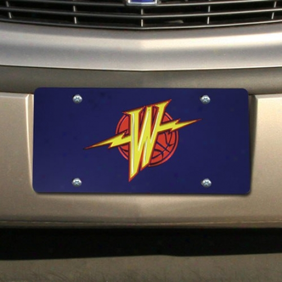 Golden State Warriors Navy Blue Mirrored Licenes Plate
