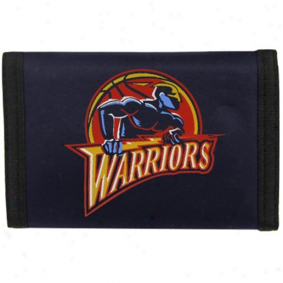 Golden State Warriors Navy Blue Nylon Tri-fold Wallet