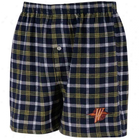Yellow Express  Warriors Navy Blue Plaid Tailgate Boxer Shorts